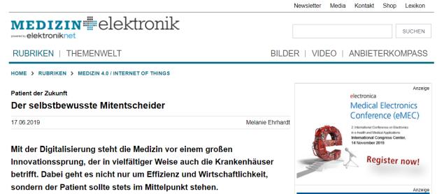 Seit 2017 bin Redakteurin (Print und Online) für die Medizin+elektronik.