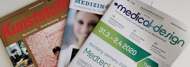 Drei Beispiele für deutsche Fachzeitschriften: Kunststoffe, Medizin+elektronik und medical design